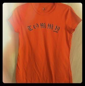 Tommy Hilfiger Women's Orange Spell Out Tee sz S